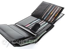 MENS WALLETS  HIGH QUALITY REAL LEATHER BIFOLD BLACK 15 CREDIT CARDS