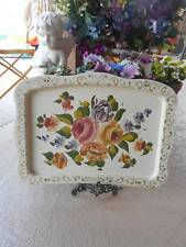 """vintage metal floral toleware TV TRAY TOP or home decor accent  22"""" x 15 1/2"""""""