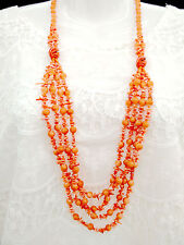 Fashion  Natural Orange Multiple Hand Strung Chip Coral Carnelians Long Necklace