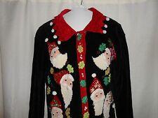 THAT SWEATER brand CHRISTMAS SWEATER Women Sz M Medium SANTA Black Soft Cardigan