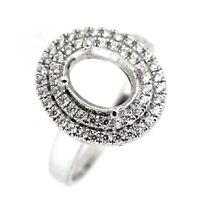 14K White Gold & Diamond Semi Mount Double Halo Ring Setting Oval OV 6x8 - 7x9mm