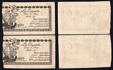 Italie - 50 Livres Regie Finances 1796 (2 Billets Consécutifs) Fds / UNC S-01