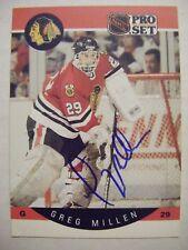 GREG MILLEN signed BLACKHAWKS 1990-1991 Pro Set hockey card AUTO Autographed #56