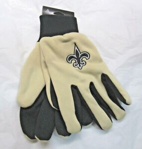 NFL New Orleans Saints Colored Palm Utility Gloves Tan w/ Black Palm by FOCO