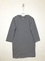 Everlane Striped Breton Dress Size XXS Tunic Zip Shoulder Navy Blue White Sleeve