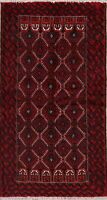 Tribal Geometric Balouch Oriental Runner Rug Wool Hand-Knotted Nomad Carpet 3x7