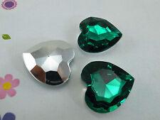 (3 pcs) Acrylic Sharp-back Heart Shaped 25mm Green Color Stone No Hole (NEW)