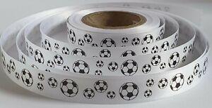 Football Ribbon 15mm x 10 metre roll satin gift wrap cake ribbon FREE DELIVERY