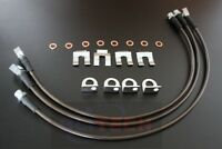 Black Jeep TJ YJ & XJ 87-06 Stainless Extended Brake Line Kit FRONT And REAR