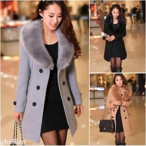2020 Women's Winter Coat Long Wool Jacket Fur Collar Slim Outwear Trench coat