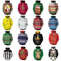 Unisex Christmas Slim Hoodie Warm Hooded Sweatshirt Coat Jacket Outwear Sweater