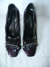 PIED A TERRE BURGUNDY ALL LEATHER MID/HIGH HEEL COURT SHOES, UK 4/EU37,BRAND NEW