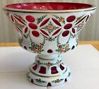 BEAUTIFUL BOHEMIAN CZECH WHITE CASED CUT TO CRANBERRY GLASS FOOTED VASE COMPOTE