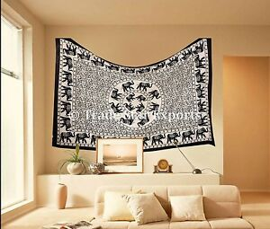 Indian Elephant Mandala Tapestry Cotton Bedspread Throw Decorative Wall Hanging