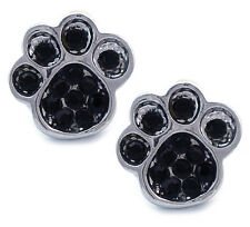 Black Crystal Doggy Dog Puppy Pet Bear Animal Paw Stud Post Earrings Jewelry