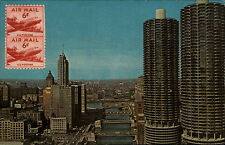 Chicago Illinois Marina City USA America AK ~1965 Postcard gelaufen Marke vorn