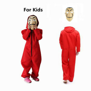 Money Heist Cosplay Costume Kids Jumpsuit + Mask Halloween Party Outfits Unisex