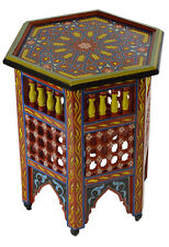 Moroccan Table Wood End Table Coffee Middle East Arabesque Decor Handmade Red