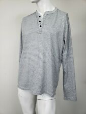 ABERCROMBIE & FITCH Muscle Moose Logo Cotton Henley Shirt Gray Stripe XXL NWT