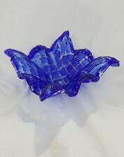 MURANO ITALY COBALT BLUE QUILTED HAND BLOWN VETRO ESEGUITO GLASS CONSOLE BOWL