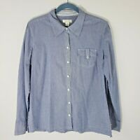 Christopher & Banks Women's Size XL Button Up Shirt Blue Pinstriped Roll Tab