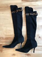 Stuart Weitzman Over the Knee Stretch Suede Black Boots Black Size 8M