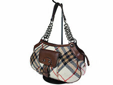 Auth BURBERRY LONDON BLUE LABEL Wool Leather Beige Chain Shoulder Bag