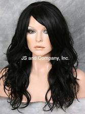 HEAT SAFE Fiber Loose WAVY Long Solid Black Wig WBSY 1