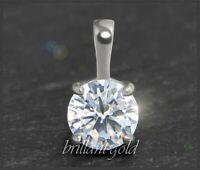 Diamant Brillant 585 Gold Damen Anhänger, Solitär 1,22 ct, Si; 14 Karat Weißgold