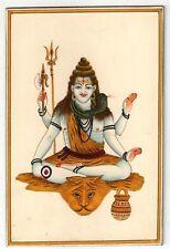Trinetra Shiva Hindu Deity Religious Miniature Painting Wood Sheet Hand Painted