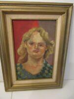 ORIGINAL FEMALE PORTRAIT SIGNED DEUTSCH 1949 OIL PAINTING CANVAS 16X20 FRAME