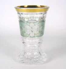 Handgeschliffener Glas Becher / Pokal mit Golddekor Jugendstil / Art Deco 14cm