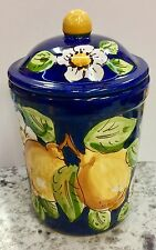 Vietri pottery-7 Inch Tall Canister Lemon .Made/Painted by hand in italy