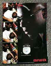 Vintage 2000 Q Magazine Advert Picture Ad AIWA Personal CD Player Victor Ubogu