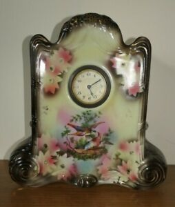 Antique Mantel Ceramic Clock Body Glass Bezel Continental untested but ticks