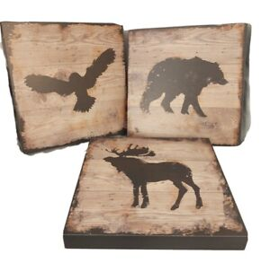 """Rustic Cabin Silhouet Wood Bear Moose Hawk 3 Plaques Pictures Wall Decor 10"""" Sq"""