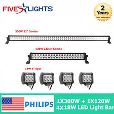 "300W & 120W  52"" inch /22"" LED Light Bar Philips Spot Flood Offroad 4x CREE Pods"