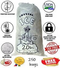 Crystal Clear Commercial Ice Bags with Drawstring 250 Pack (20 lb), Extra STRONG