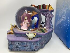 """RARE 1991 """"Belle Reads a Tale as Old as Time"""" Musical Snow Globe in Box Disney"""