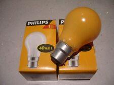 2 - 40w B22 240v yellow coloured light bulbs standard 60mm size Philips