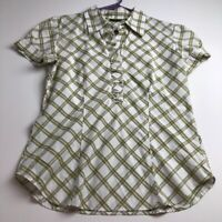 New York & Company Women's Short Sleeve Blouse Top Large L Green White Plaid
