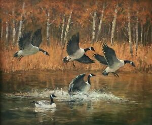 Joann Sleadd Autumn Fly In Geese Framed Original Oil Painting on Canvas 20x30