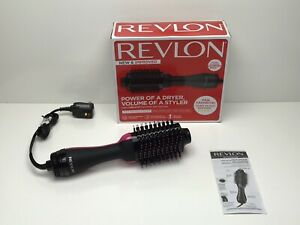Revlon One-Step Hair Dryer And Volumizer Hot Air Brush, Black With Pink