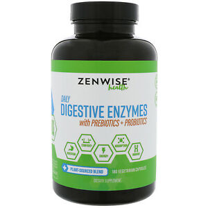 Digestive Enzymes Prebiotics, Probiotics, 180 Veg Capsules Ginger Turmeric