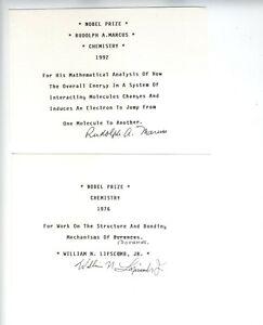 1976 & 1992 CHEMISTRY NOBEL PRIZE AUTOGRAPH MARCUS LIPSCOMB BORANES ELECTRONS