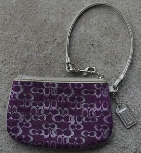 COACH Lurex Glitter Purple & Silver Signature Fabric Wristlet