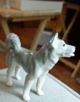 Vintage ceramic gray dog puppy small figurine