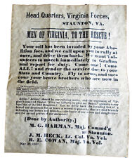 American Civil War Confederate Men Of Virginia Recruitment Poster 1861 Replica