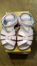 New Sun-San Salt Water Sandals,original style,shiny pink leather, child 9,NIB
