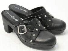 Women's American Eagle Black Buckle Clogs Mules Size 9